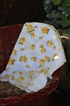 Vintage Twin Flat Sheet - Floral Roses Vintage Bedding - Green Yellow White Flowers Fabric Linen set Bed set epsteam yellow on Etsy, $16.00