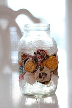 rolled flower mason jar vase