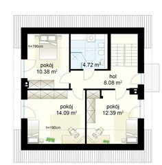 Dom na Stoku 5 T projekt - Poddasze 49.66 m² Floor Plans, Bedroom, Bedrooms, Floor Plan Drawing, Dorm Room, House Floor Plans, Dorm