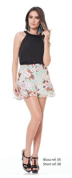 Look com blusa e short. Primavera/Verão 2015.