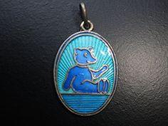 David Andersen Blue Guilloche Enamel Teddy Bear by Avujewelry