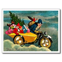 Motorcycle Santa - Vintage Merry Christmas Postcard #Santa #Postcards #Holiday #Gifts