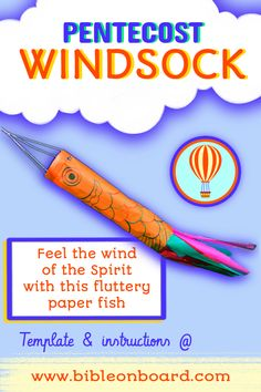 A silk paper windsock to celebrate Pentecost and remind you of the wind of the Spirit! check out the template and more on the blog Pentecost, Bible Crafts, Spirit, Templates, Activities, Silk, Feelings, Paper, Board