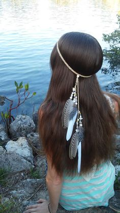 Native American, Feather HeadBand, wedding, white feather headband, feather headpiece, feather hair, free people, natural, beach, shell