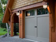 Garage door pergola plans Ideas for 2019 Grey Garage Doors, Garage Door Colors, Wooden Garage Doors, Garage Door Styles, Garage Door Design, Front Door Colors, Wooden Garages, Front Doors, Barn Doors
