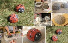 Mariquitas de adorno. Como veis, estos modelos están fabricados con cemento y decorados en forma de mosaico con gresite. Así, debéis poner un plástico entre el molde y el cemento, de manera que, cuando esté duro, podamos desmoldar y despegar el plástico.