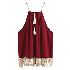 Women Vest,Haoricu Women Sexy Lace Tassell Drawstring Blouse Tank Tops (S, Wine red)  BUY NOW     $4.41     Size Details:     ✪ Size:S   Bust:92cm/36.2″ Length without Strap:54cm/21.2″    ✪ Size:M   Bust:96cm/37.7″ Length without Strap:55cm/21.6″    ✪ Size:L   Bust:100cm ..