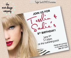 Printable taylor swift party invitation that you can edit taylor taylor swift inspired birthday invitation this one is inspired by her red album www filmwisefo
