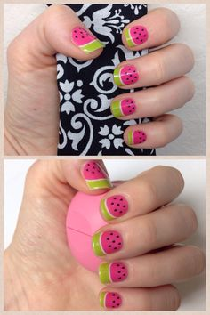 Love Jamberry nail wraps! These adorable watermelon tips scream summer! http://bigtex.jamberrynails.net