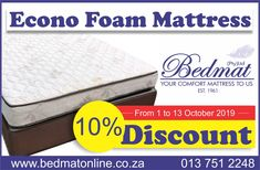 Econo foam Mattress & Base: Last chance to catch out Econo foam Mattress & Base on discount!  Get 10% on our Econo mattress and base sets, while limited stocks last -Recommended for bunk beds -Entry-level bed -Covered in Quilted Warp Knit -One layer of foam mattress with a good quality density of a reconstructed foam  Visit our online shop for more information on our products!
