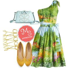 In this outfit: Prettiest of All the Landscape Dress, Lively in Loops Heel in Yellow, Laud of the Rings Bracelet in Gold, Glam Night Out Bag    #landscapes #balletflats #cuffbracelet