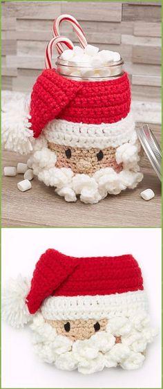 Repeat Crochet Me: Crochet Christmas Mason Jar Cozy Free Patterns
