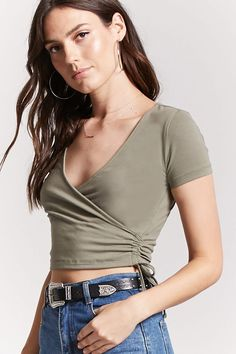 Product Name:Surplice Cropped Tee, Category:top_blouses, Casual Skirt Outfits, Crop Top Outfits, Basic Outfits, Urban Outfits, Grunge Outfits, Cute Outfits, Rock Chic, Girl Fashion, Fashion Outfits