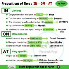 Prepositions of Time – In, On, At – Vocabulary Home Grammar And Vocabulary, English Vocabulary Words, English Phrases, Learn English Words, English Study, Grammar Tenses, Teaching English Grammar, English Writing Skills, English Language Learning