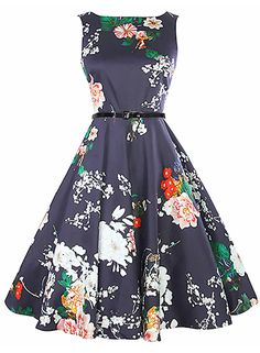 The dress is featuring floral print, round neck, sleeveless design, pleated style and on an A-line silhouette.