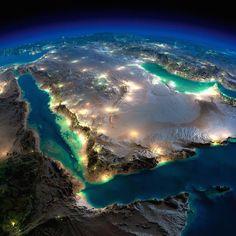 Terra vista do espaço                         Península Arábica e Mar Vermelho