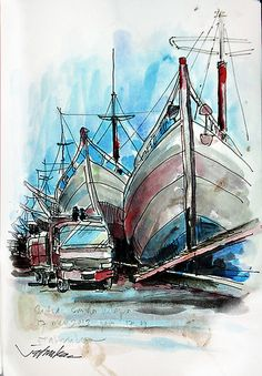 Pelabuhan SundaKelapa by mas_jati Jakarta City, Drawing Sketches, Drawings, Unique Art, Sailing Ships, Boat, Watercolor, Humor, Blueberries
