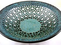 Pottery fruit bowl , ceramic fruit bowl , teal blue pottery , home decor , Modern pottery This lovely lace look fruit bowl is very delicate and