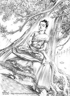 ดินสอ-หมึกดำ: เจ้าชายสิทธัตถะ Buddha Kunst, Buddha Art, Krishna Painting, Krishna Art, Buddha Life, Indian Artwork, Dark Art Drawings, Gautama Buddha, Thai Art