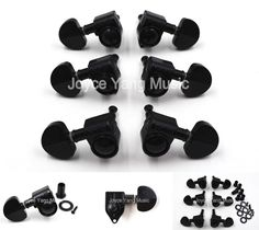 [Visit to Buy] Grover Style Black Semicircle Guitar Tuning Pegs Tuners Machine Head 3L+3R Free Shipping Wholesales #Advertisement