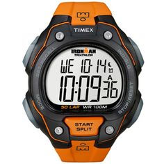 Timex T5K493 Men's IRONMAN Triathlon Indiglo Night Light Orange Resin Strap Digital Watch
