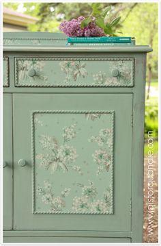 wallpapered linen press dresser.  q is for quandie. - Wallpaper Zone