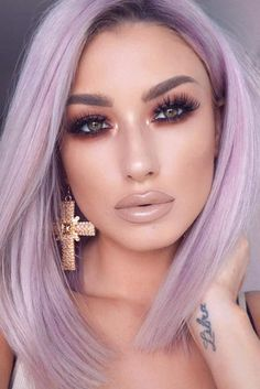 Adorable Day Night Makeup Looks picture 5 night make up 51 Most Amazing Homecoming Makeup Ideas Homecoming Makeup, Homecoming Ideas, Prom Makeup, Lavender Hair, Corte Y Color, Grunge Hair, Purple Hair, Hair Makeup, Makeup Box