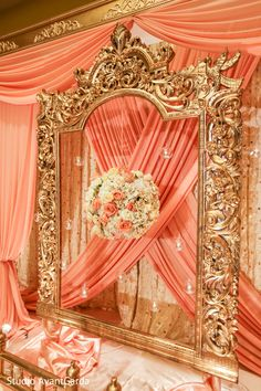 Traditional Indian Wedding Photos from the wedding of Shilpa and Shravan Reception Stage Decor, Wedding Stage Decorations, Wedding Ceremony Backdrop, Event Decor, Desi Wedding Decor, Red Wedding, Wedding Bells, Perfect Wedding, Wedding Ideas