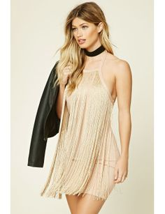 metallic-fringe-mini-dress by f21-contemporary. #fashiontrend #dresses #outfit #gorgeous #shoptagr