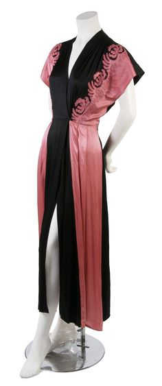 Black and Pink Silk Dress,   1920s,   in a robe style, with pink embroidery at front.