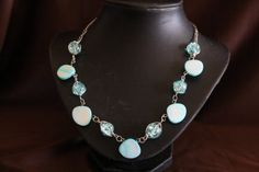 Handmade Light Blue Wire Wrapped Bead Necklace by CavettaCreations, $20.00