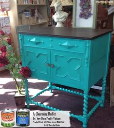 GF Patina Green Milk Paint and Java Gel go great together! Sew Darn Pretty, http://www.sewdarnpretty.ie/, refinished this piece.  Beautiful!