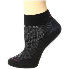 Smartwool PhD Run Light Elite Low Cut (Black) Women's Low Cut Socks ($18) ❤ liked on Polyvore featuring intimates, hosiery, socks, low cut socks, no seam socks, long socks, seamless socks and smartwool socks