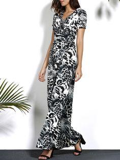 Trendy V-Neck Short Sleeve Leopard Print Plus Size Dress For Women
