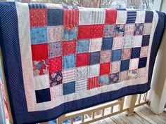 Summer is right around the corner, but we can celebrate even in the winter with the great 50 x 60 OOAK Handmade Red, White and Blue Delicate Floral, Stripe, Paisley Quilt