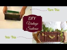 An easy DIY to turn a cardboard box into a vintage looking suitcase which can be used in various ways like desk organiser, jewellery box, magazine holder, keeps… Diy Videos, Diy Craft Projects, Projects To Try, Craft Ideas, Easy Crafts, Easy Diy, Home Decor Near Me, Cardboard Box Crafts, Diy Planters