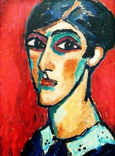 expressionnisme art   alexej  jawlensky (longish woman head in reddish brown I9I3)   (torjok russie I864 † wiesbaden I94I) art moderne portrait palette rouge et noire (black red palett painting)