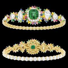 "Cher Dior - ""Fascinante Emeraude"" Bracelet in 18K yellow gold, diamonds, emeralds, pink sapphires, Paraiba tourmalines, yellow sapphires, spessartite garnets, purple sapphires, demantoid garnets, sapphires and rubies."