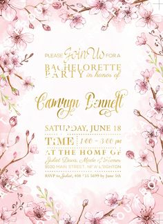 Cherry Blossom Invitation Bachelorette Gold Foil by froufroucraft