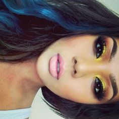 yellow model chick // lemon drop eyeshadow on the lids by Lee Stell // lips soar lip liner with play date lipstick Flawless Makeup, Gorgeous Makeup, Pretty Makeup, Love Makeup, Skin Makeup, Makeup Tips, Beauty Makeup, Makeup Looks, Hair Beauty