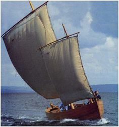 """18th century Plougastel lugger reconstruction, chaloupe """"Marie-Claudine"""". Contemporary sardine lugger had a similar appearance, though generally smaller. This astonishing rig has proven high efficiency."""