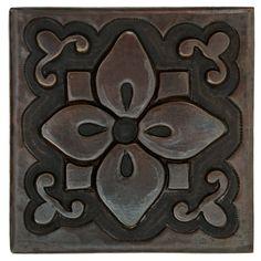 Copper Tile (TL981) Country Flower Design