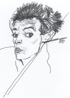 Drawing by Egon Schiele. Self portrait. Look at the skill of the artist's simple drawing.