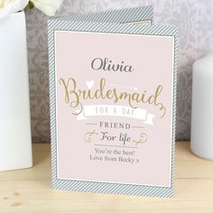 Friend for Life Personalised Bridesmaid Card - Olive and Finch