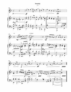 The Beatles: Yesterday for Violin & Piano The Beatles Yesterday, Piano Sheet Music, Digital Sheet Music, Violin, Piano Music