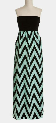 Chevron Zigzag Strapless Maxi Dress