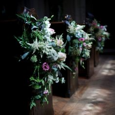 Wild flowers, church pew ends for wedding