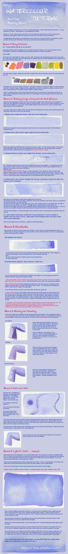 Watercolour 2 : Painting Basics ~by =Gold-Seven Watercolor Tips, Watercolour Tutorials, Watercolor Techniques, Watercolour Painting, Painting Techniques, Painting & Drawing, Watercolours, Painting Lessons, Painting Tips