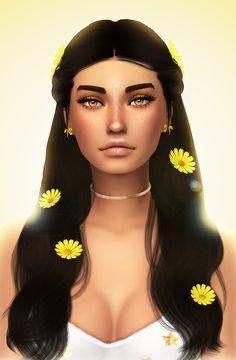 Crypticsim Flower Girl Hair Eyeshadow Blush Gloss Sims Hair Sims 4 Sims