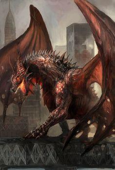 Dragon in city by chevsy